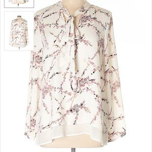 DR2 Tie Neck Long Sleeve Cream Floral Print Blouse